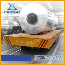 车间物料配送车搬运卷材用电动平车管材低压轨道平板车