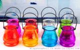 鐵絲吊環玻璃花瓶,插花瓶,雙耳鐵絲吊環燭臺