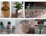 不锈钢玫瑰金圆形花盆装饰可移动花钵