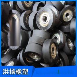 铝芯包胶轮 黑色橡胶滚轮 铁芯包胶轮