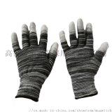 黑白条纹PU涂指劳保防护尼龙手套