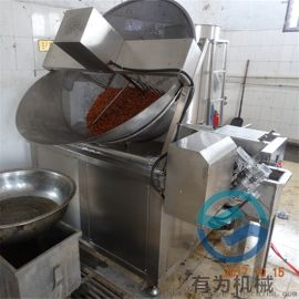 带自动搅拌的鸡爪油炸锅,自动进出料油炸锅