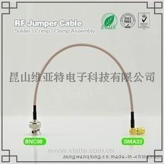 BNC08-SMA33BNC(Plug)  公针 to SMA(Plug)  公针弯式铆压接RG316_RG174同轴电缆/50Ω