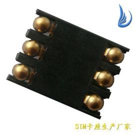 博川 专业生产SIM卡座SIM101手机内存卡连接器6PIN H1.2耐高温大量现货