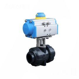 进口气动塑料球阀-气动调节型-UPVC-双由令