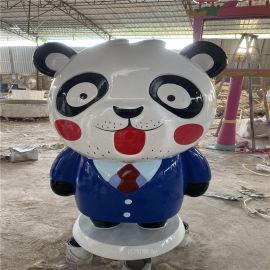 节日庆典卡通熊猫雕塑 广州玻璃钢卡通雕塑