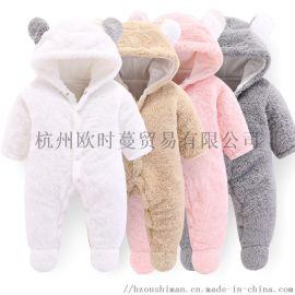 厂家直销婴儿长袖连身衣纯棉童装爬服连体衣