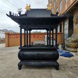 寺庙长方形八龙柱香炉厂家,铸铜八龙柱长方形香炉制造