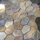 生產銷售天然板岩黃木紋不規則冰裂紋網貼 不規則地磚牆磚