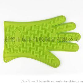 5指硅胶手套 烤箱微波炉手套 耐高温防滑隔热手套