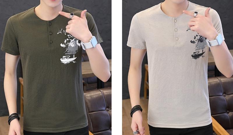 男裝夏季2020新款潮流中國風棉麻體恤潮牌男士短袖t恤潮流亞麻薄