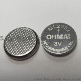 3V可充电锂锰纽扣电池ML2032