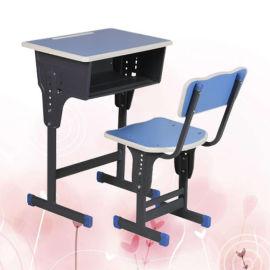 单人升降课桌椅 课桌椅生产定制厂家 单柱学生课桌椅