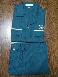 墨绿色70%棉30%涤库存工作服 半袖长袖劳保服装