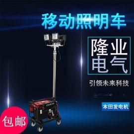 夜間施工移動照明車、氣動或手動升降杆