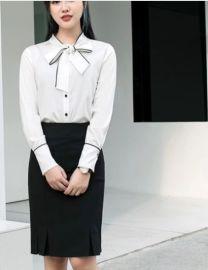 筱凡蝴蝶结长袖衬衣白色仿真丝套裙包裙鱼尾裙半身裙职业套裙
