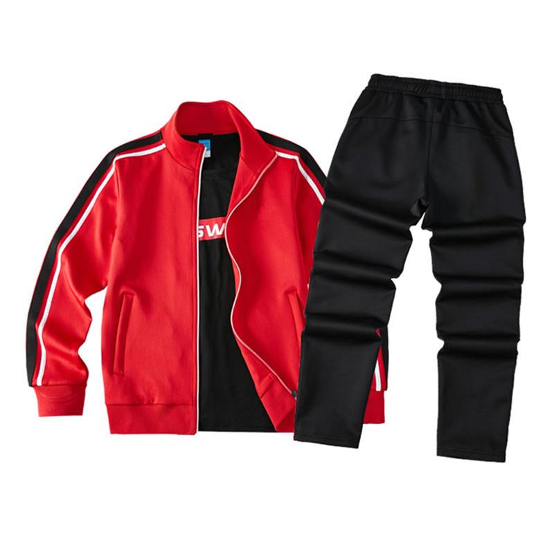 出口跨境长袖运动服套装男女休闲情侣外套纯色卫衣套装