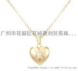 心型镶钻铜链吊坠