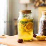 美式瓶浮雕瓶木塞杂粮瓶分装罐花茶瓶密封罐腌制瓶