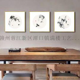 新中式装饰画禅意卧室画办公室花鸟国画中国风客厅挂画
