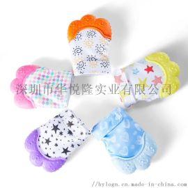 亚马逊爆款 婴儿硅胶磨牙手套 可啃咬防咬手指套宝宝发声牙胶玩具