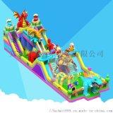户外儿童充气滑梯蹦床充气城堡乐园吸引好多小朋友