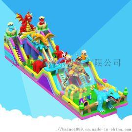 农庄儿童欢乐大型充气滑梯百美厂家直销