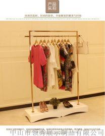 不鏽鋼玫瑰金服裝展示架_領秀服裝展示架