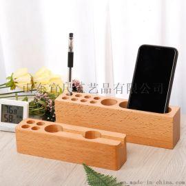 创意实木多功能收纳笔筒 榉木质公司名片盒