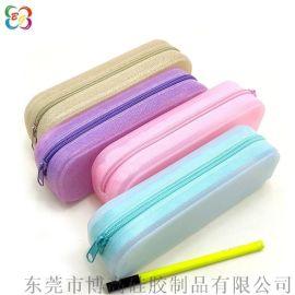 硅胶制品厂现模供应金葱粉硅胶笔袋 韩版学生文具袋