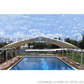 广州厂家膜结构遮阳雨篷, 膜结构体育看台免费安装测量