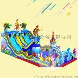 江蘇南京廣場上的兒童充氣滑梯城堡帶來許多歡笑