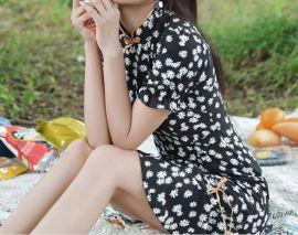 夏季新款四面弹雏菊田园风改良版旗袍少女年轻款显瘦连衣裙