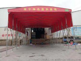 武汉新洲定做雨棚推拉蓬 户外遮阳棚带轮子烧烤折叠篷