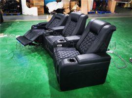 赤虎销售黑色牛皮电动功能沙发,私人别墅影视厅沙发