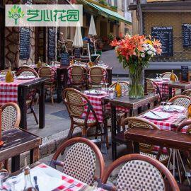 艺心花园 户外家具小桌椅组合仿藤编椅子酒吧西餐厅
