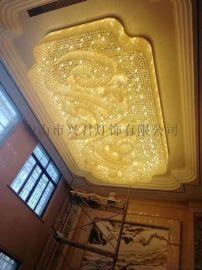 酒店长方形水晶吸顶灯 酒店工程灯定制