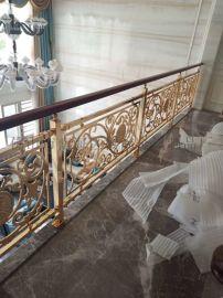 **家装铜艺楼梯  整体雕花铝艺护栏