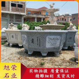 大型石雕花钵 别墅花园石雕梅兰竹菊浮雕花盆