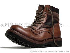 手工复古高帮皮底厚底工装靴马丁靴机车靴