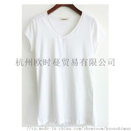圆领纯棉拉架弹力女士纯色短袖T恤