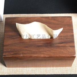 简约式木质纸巾盒 家用桌面胡桃木纸巾收纳盒