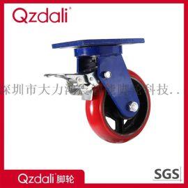 鑄鐵藍架弧面鐵芯紅色PU腳輪