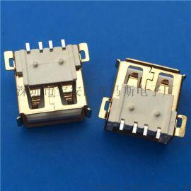 USB 2.0 AF短体母座L=13.8MM全贴式SMT 外壳镀金 4P 白胶卷边带柱