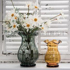 迷你荷叶瓶玻璃花瓶插花瓶玻璃瓶餐桌摆件瓶水培瓶
