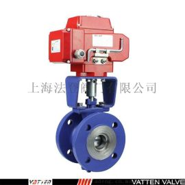 VATTEN电动V型球阀,颗粒料浆介质调节阀