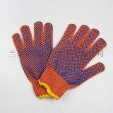 600克橘色棉紗單麪點塑手套