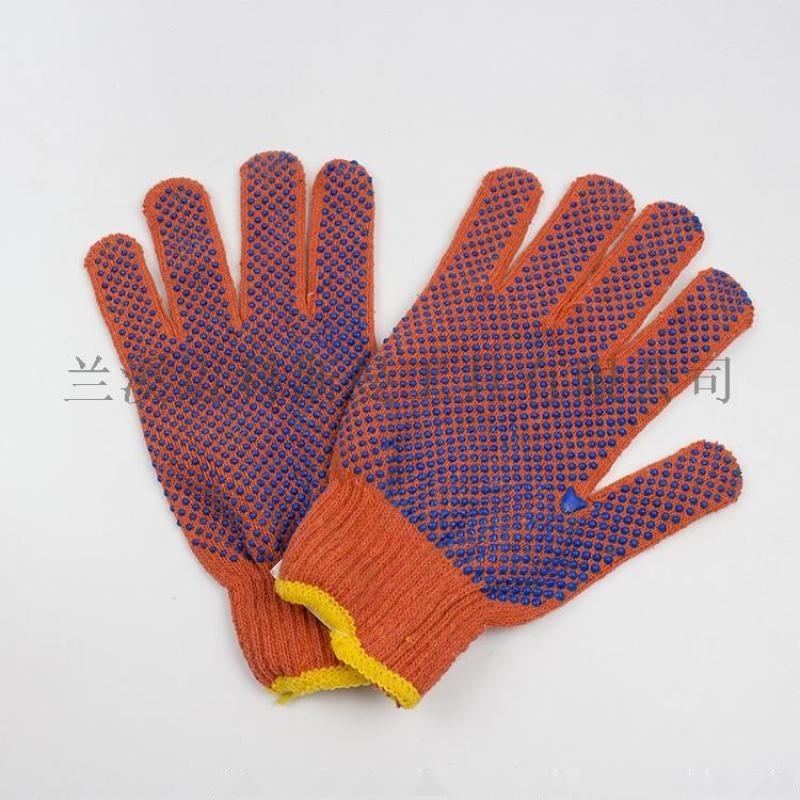 600克橘色棉纱单面点塑手套
