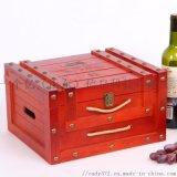 铆钉款六只装红酒木盒包装创意抽绳松木红酒礼盒