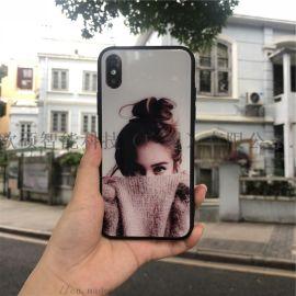 适用iPhoneX 简约玻璃彩绘全包手机壳
